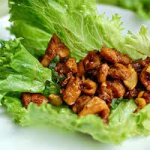 Scallion, Garlic, & Ginger Cashew Chicken in Lettuce Wraps
